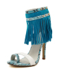 new style ladies fashion high heel snake pattern dress sandals with tassels