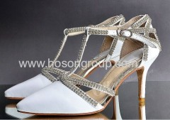Fashion shine rhinestone high heel backle strap dress shoes
