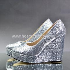 숙녀 둥근 발가락 쐐기 뒤꿈치 신발