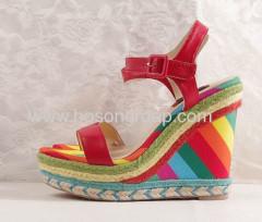 Fashion rainbow heel buckle sandals