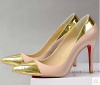 Ladies gold pointed toe high heel shoes