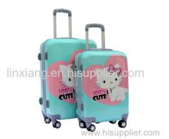 schattige meisjes blauwe kleur bagage met kat catoon printing carryon bagage