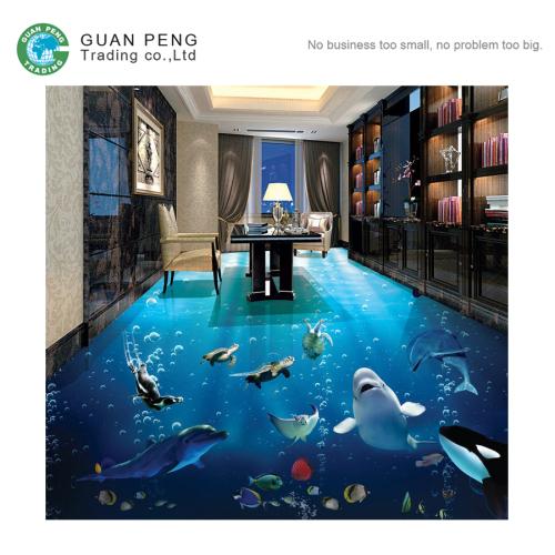 Modern Non Slip Digital Dolphin Bathroom Tile 3d Effect Ceramic Floor Tile Prices