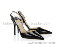 black color sling back ankle strap buckle high heel shoes