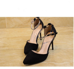 Black suede pointed toe ankle strap shoes