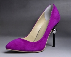 Purple suede high heel party shoes