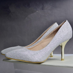Ladies eyelet stiletto heel shoes silver