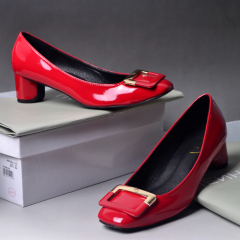 Red plain toe fashion block heel shoes