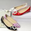 Floral rhinestone ponted toe flat shoes