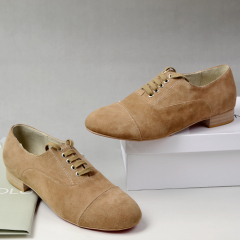 Faux suede lace up casual shoes camel