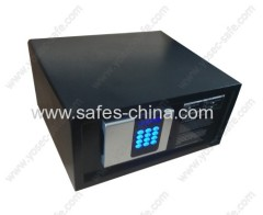 Electronic in-room safe box with motorized locking system and backlit panel for hotel bedroom