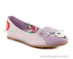 good quality sweet cartoon ladies fashion flat dress shoes with bear printed