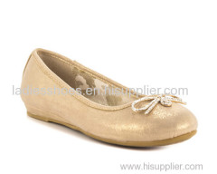 Gold color flat women pull on ladies dress shoes with rainstore bowtie