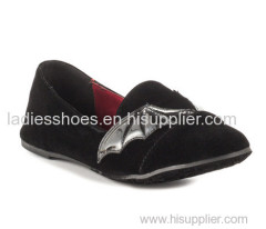 Black color PU suede pull on comfortable flat ladies dress shoes
