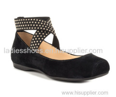 PU suede black ballet fashion ankle flat dress shoes