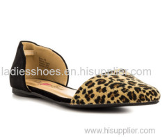 leopard print two pieces pointed toe ladies flat dress shoes