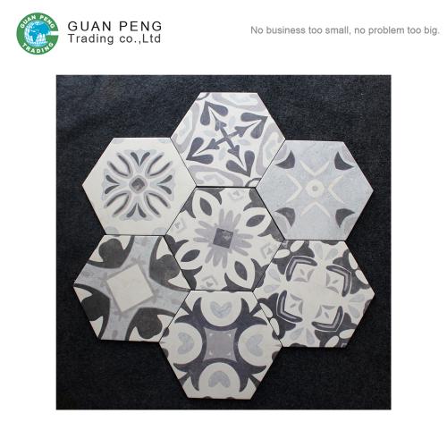 Non-slip Cement Flower Ceramic Porcelain Hexagon Wall Floor Tiles Design
