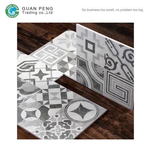 Digital Commercial Restaurant Plain Color Ceramic Cement Floor Tiles With Flower Pattern Decorative Wall Tiles