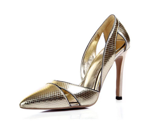 Gold PU leather stiletto heel party shoes