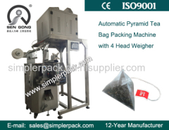 Automatic Pyramid Nylon Tea Bag Packing Machine with Thread and Tag(Improved)