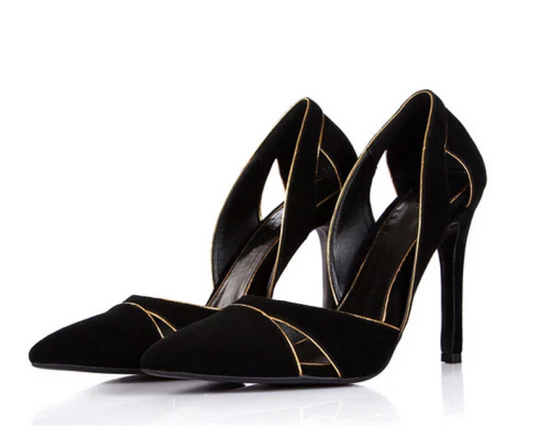 Fashion cut out pointy toe dress shoes black