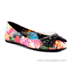colorful printed pull on women fashion flat ladies shoes