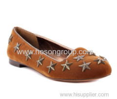 PU suede fashion pull on flat ladies dress shoes with star