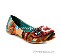 PU suede customized design colorful fashion flat women dress shoes