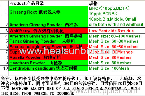 Panax Ginseng Powder no pesticide residue Low pesticide Residue Ginseng Organic Ginseng