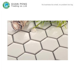 Bathroom Floor Tiles Black And White Design Ceramic Glazed Hexagon Mosaic Tile