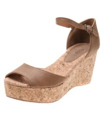 New style wooden texture wedge heel shoes