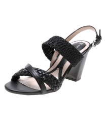 Women chunky heel dress sandals black
