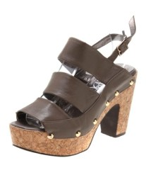 Ladies open toe block heel dress sandals brown