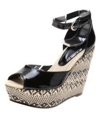 Braided wedge heel peep toe single sole sandals