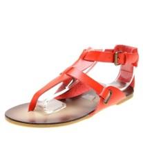 T-strap ankle strap flat heel sandals