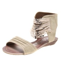 Fashion women strappy faux suede flat heel sandals