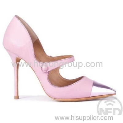 women pink color pull on high heel shoe
