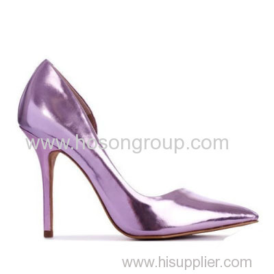 good quality patent leather purple high heel pumps