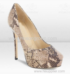 good quality snake texture high heel shoes