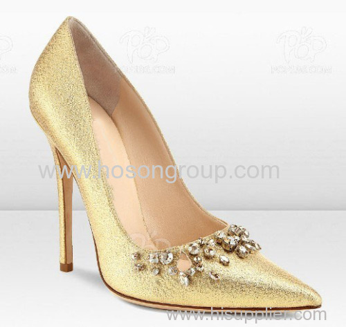Good quality Shining women glad stiletto heel shoes with diamond