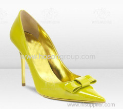 Patent leather yellow stiletto heel women dress pumps