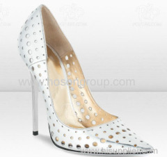 White cut out pull on stiletto heel dress shoes