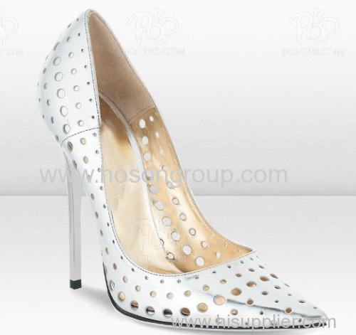 White color cut out stiletto heel dress pumps