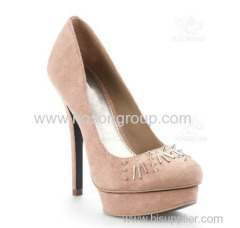 suede stiletto heel women dress shoe with studs