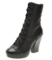 Ladies chunky heel lace up high heel ankle boots