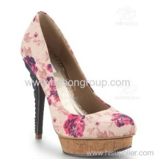African printed fabric fashion high heel shoe