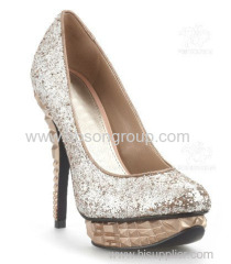 Good quality shining polished classic pull on high heel dress shoes