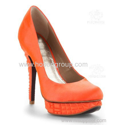 Pull on round toe leather platform high heel women dress pumps
