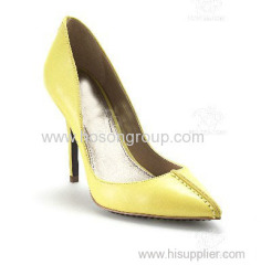 Customized design yellow women high heel dress shoe