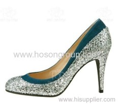 Round toe women high heel dress pumps with paillettes studded